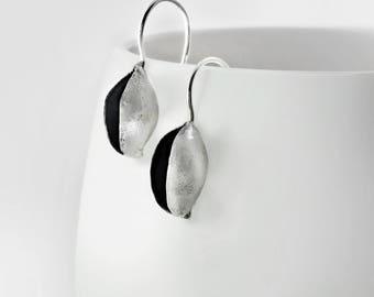 Seed pod earrings, Sterling silver earrings, Nature earrings, Botanical jewelry, Seed pod jewelry, Organic silver, Seed earrings, Silver pod