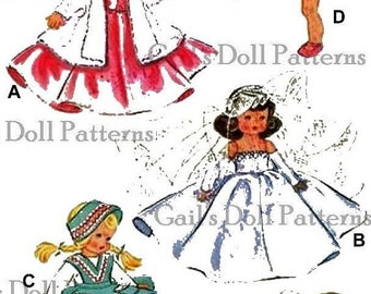 """Vintage Pattern for Wardrobe to fit 7"""" to 8"""" Ginny Doll"""
