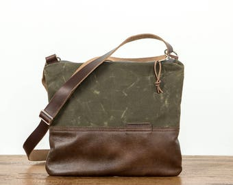 Zip Top Cross Body Day Bag, Waxed Canvas, Crossbody bag, Cross Body Bag, Canvas Crossbody, Waxed Canvas Bag, Canvas Purse, Olive Green