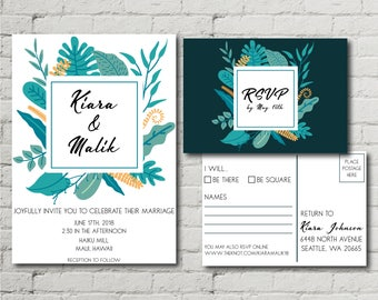 Printable Wedding Invitation RSVP Postcard Leaves Botanical Modern Minimal Tropical