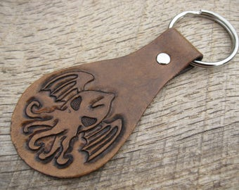 Cthulhu Great Old One Leather Keyring/Keychain with hand tooled design made to order. H. P. Lovecraft Free shipping.