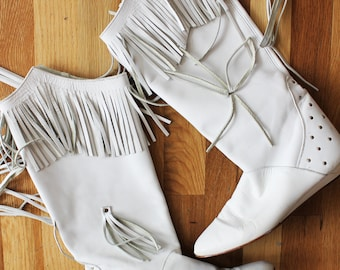 White Leather Fringe Studded Cowgirl / Cowboy 80s Boots