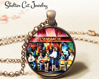 "L'Entracte Café in Paris Necklace - 1-1/4"" Circle Pendant or Key Ring - Wearable Art Photo - Impressionist, France, French Restaurant Gift"