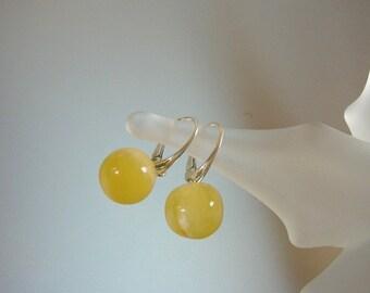Baltic Amber Drop Earrings - Butterscotch Genuine Amber - Leverback Sterling Silver Earrings