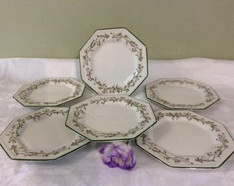 "Set of Six PrettyJohnson Brothers ""Eternal Beau"" Octagonal Side or Tea Plates"