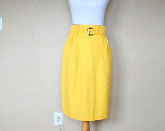 1980s Vintage Yellow Midi Skirt