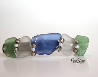 Sea Glass Barrette Multicolored Blue Green White Hair Clip