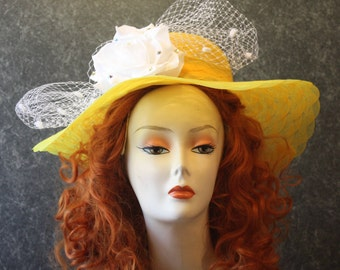 Yellow Kentucky Derby Hat, Derby Hat, Garden Party Hat, Tea Party Hat, Easter Hat, Church Hat, Wedding Hat, Downton Abbey Yellow Hat 024