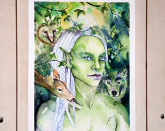 Forest Elf   original watercolour, fantasy art, whimsical painting, green art, forest animals, gallery wall, woodland painting, bedroom art