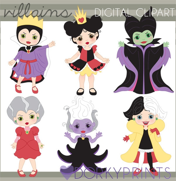 villain clipart personal and limited commercial queen of rh etsy com Baby Disney Villains Disney Villain Silhouette Clip Art