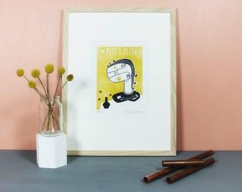 Elfriede Frigide | Linoldruck, Linolschnitt, Linoldruckgrafik, Druckgrafik, Druck, Illustration, beleidigte Leberwurst, gelb, grau, A4
