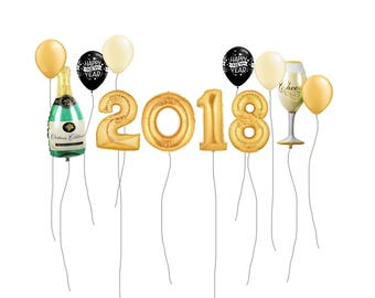 New Years Eve Balloons, New Years Eve Decor, New Year's 2018 Jumbo Balloon Banner Kit, New Year's Eve Decor Kit , Champagne Balloons