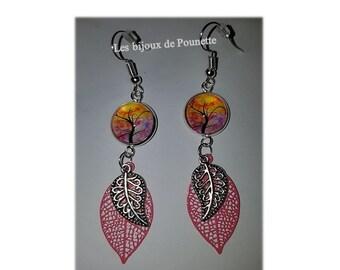 """Earrings pink """"tree of life"""""""