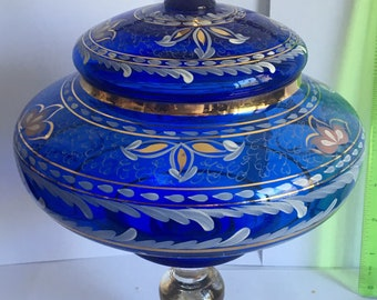 Bright cobalt blue bohemian glass vase with lid painted with gold and flowers