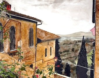 View from Florence Italy 8 x 10  print Sienna colors and European sky