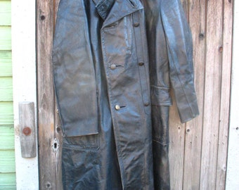 1950's Firefighters Coat. Black leather.