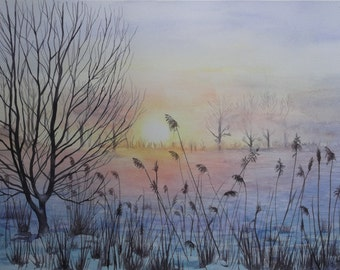 One Snowy Dawn - Original Watercolour Painting