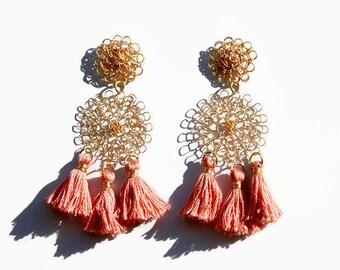 Pink Tassel Earrings | Bohemian Gold Wire Crochet