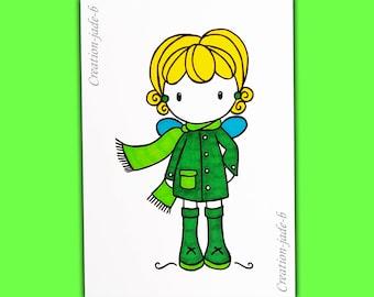 Postcard - green girl 10,5 x 14,8 cm