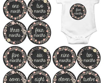 Monthly Baby Stickers Baby Month Stickers Baby Girl Month Stickers Monthly Photo Stickers Monthly Milestone Stickers Chalkboard Floral 356