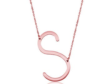 Silver Tone/Rose Gold Plated Stainless Steel Necklace, Personalize Necklace, Letter S