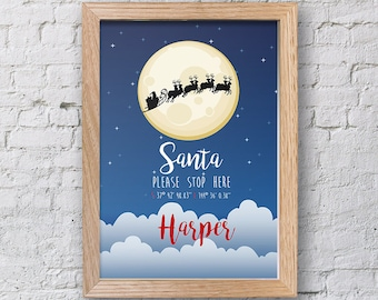 Personalised Santa Stop Here Print. KK GIft, home decor, xmas decor