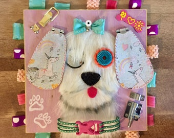 Dog busy board/ activity board/ Sensory board/ nursery art/ baby& toddler toy