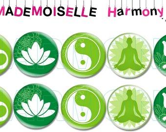 10 glass cabochons 18 mm yoga zen size 18 mm cabochons