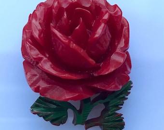 Deeply carved vintage c. 1930s bakelite rose brooch or pin - tested