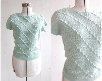 Vintage Mint green Sweater, Crochet Sweater, Sea foam sweater, Pom pom sweater