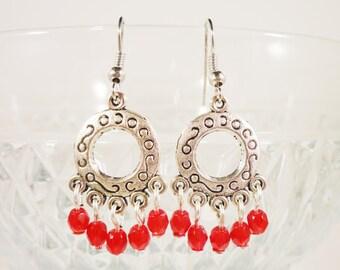 Beaded Chandelier Earrings, Ruby Red Bead Earrings, Glass Drop Earrings, Antique Silver Hoop Earrings, Beadwork Earrings, Women's Jewelry