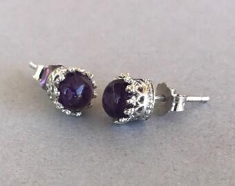 Natural Amethyst Crown Earrings, Sterling Silver Round Purple Genuine Amethyst Cabochon Stone Crown Stud Post Earrings For Women