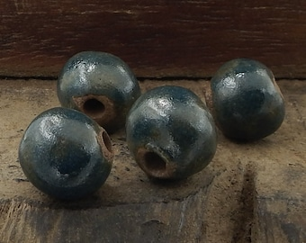 Ceramic Pottery Beads Dark Blue Brown Handmade Stoneware