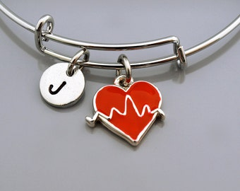 Heartbeat bangle, Heartbeat bracelet, Heart beat charm bracelet, Red heart beat bracelet, Expandable bangle, Monogram, Initial bracelet