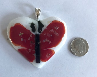 Glass Butterfly and Heart Pendant