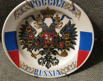 """Russian Imperial 2 Eagle Porcelain Wall Plate """"Russia"""".  Excellent condition. Beaufiful gift too.  Marked. Fast ship from Usa"""