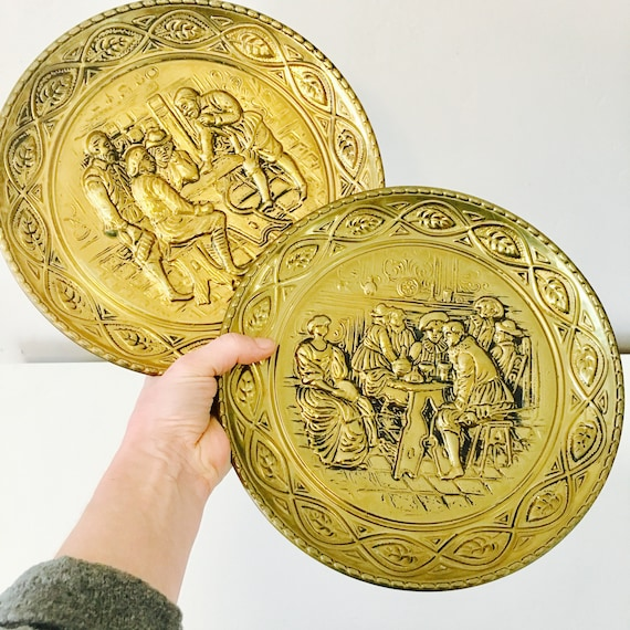 """Vintage Brass Wall Plates Set of (2) 10"""" Embossed Brass Decor Made in England Old English Tavern Scene Brass Plates"""