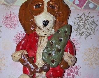 Nostalgic Vintage Style Beagle Dog Santa Claus Ornament Unique Folk Art