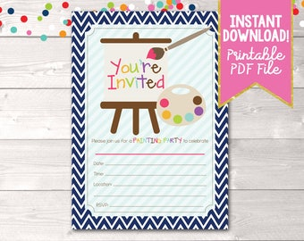 Fill In Art Painting Party Invitations Printable Kids Birthday Party Painting Invitation INSTANT DOWNLOAD