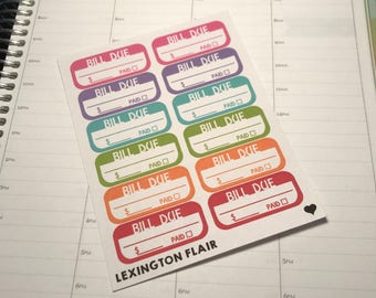Bill Due Planner Stickers for your Erin Condren, Happy planner, filofax or other calendar #175