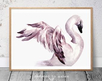 Watercolour swan kids nursery print, baby girl room, baby prints, nursery art, pretty art.