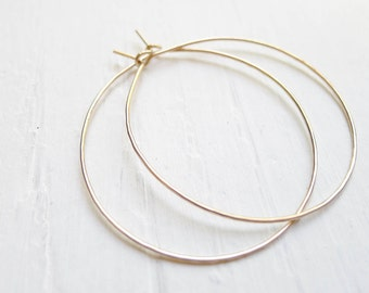Thin Gold Hoops Hammered Large Gold Hoop Earings Wispy Delicate Hoop Earrings Goldfilled Jewelry Gifts for Best Friends