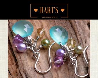 Sea Mist Chalcedony, Fluroite,  Citrine Gemstone, Cultured Pearl, & Argentium Silver Earrings