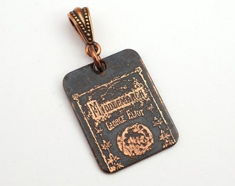 Middlemarch book cover pendant, small rectangular flat copper George Eliot jewelry, etched metal, optional necklace, 25mm
