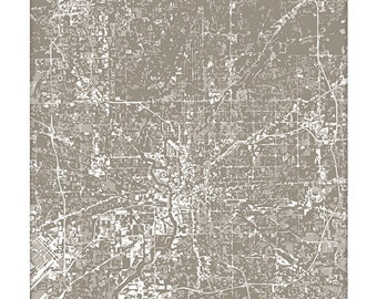 Indianapolis Cityscape / Indiana Map Art Grad Gift / 8x10 Digital Print / Dorm Decor / Choose your Color