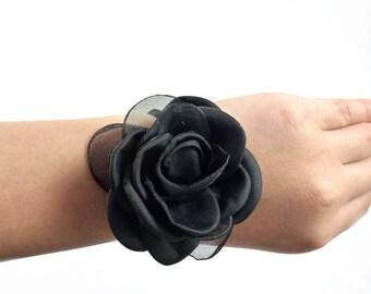 Fabric flower synthetic diameter 6cm - black