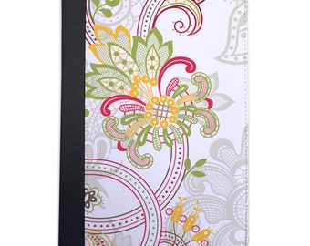 Pink & Green Paisley Pattern Folio Case For The iPad Mini 1, 2, 3 and 4 Only
