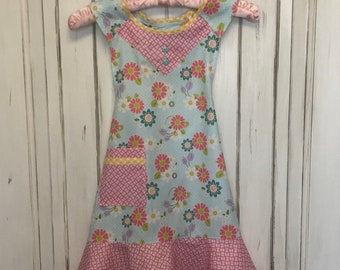 Little girls floral frilly apron