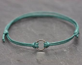 Bracelet Circle Turquoise Silver minimal vegan friendship bracelet