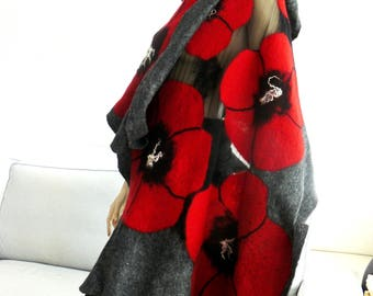 Clothing Gift, Nuno felted shawl, large scarf, wool and silk Red flowers